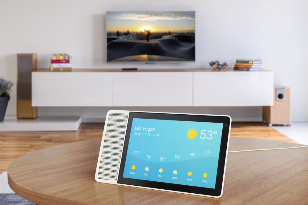 10-inch Lenovo Smart Display showing the weather.png